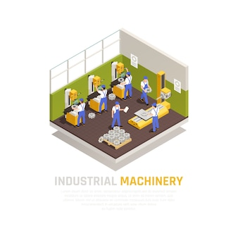 Concepto isométrico de maquinaria industrial con símbolos de fabricación en fábrica.