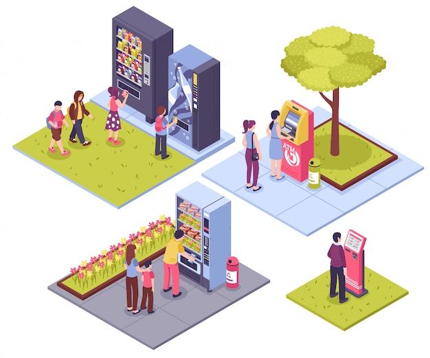 Concepto isométrico de máquinas expendedoras