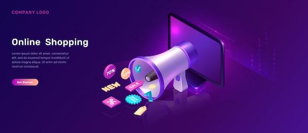Concepto isométrico de marketing digital con megáfono