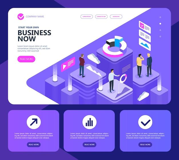 Concepto isométrico de marketing y finanzas, concepto de un sitio empresarial moderno