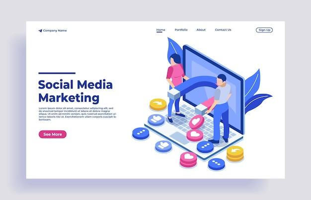 Concepto isométrico de marketing en redes sociales con personajes.