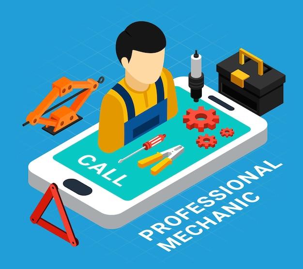 Concepto isométrico mecánico profesional con equipos y símbolos de llamada.