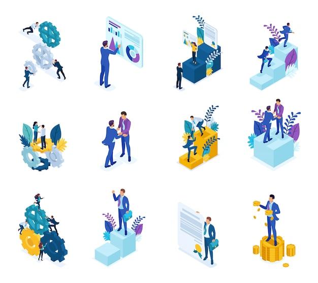 Concepto isométrico del mecanismo de operación del negocio, datos analíticos, para lograr el objetivo.