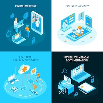 Concepto isométrico de medicina en línea monitoreo de salud de farmacia de internet en tiempo real documentación médica electrónica aislada