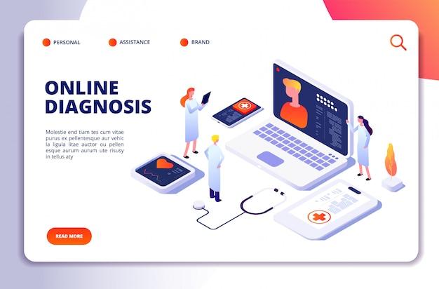 Concepto isométrico médico diagnóstico con paciente y médico en línea, examen de telemedicina. página de inicio de atención médica