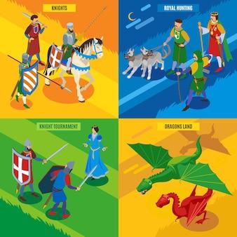 Concepto isométrico medieval 2x2 con personajes humanos de guerreros fríos dragones princesa y texto editable