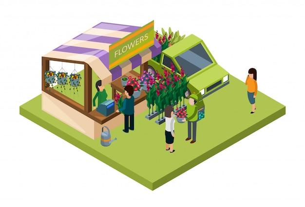 Concepto isométrico del mercado de flores. venta de flores y fertilizantes ilustración