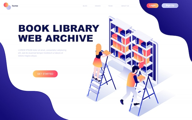 Concepto isométrico moderno diseño plano de biblioteca de libros