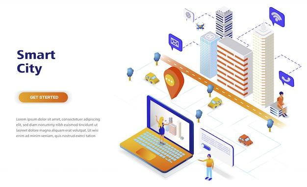 Concepto isométrico moderno de diseño plano de ciudad inteligente