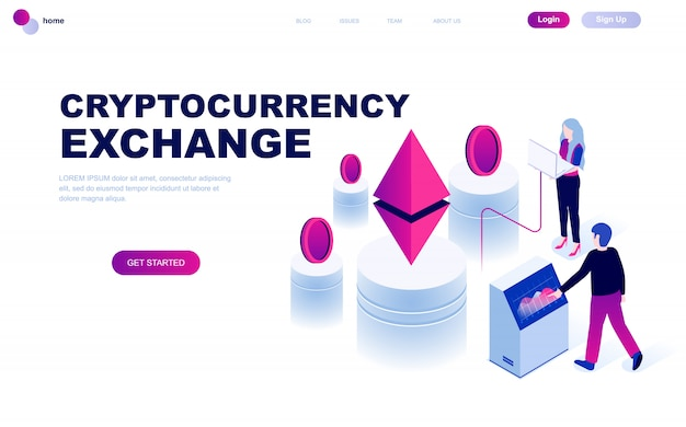 Concepto isométrico moderno diseño plano de cryptocurrency exchange