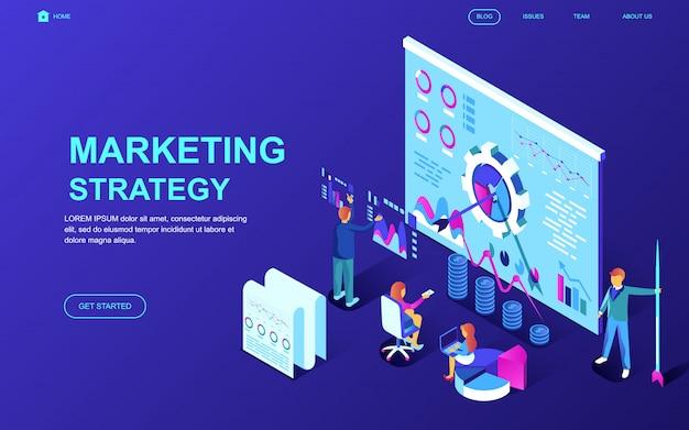Concepto isométrico moderno de diseño plano de estrategia de marketing.