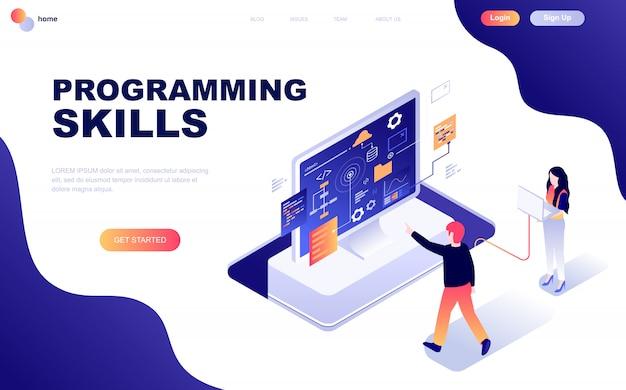 Concepto isométrico moderno diseño plano de habilidades de programación