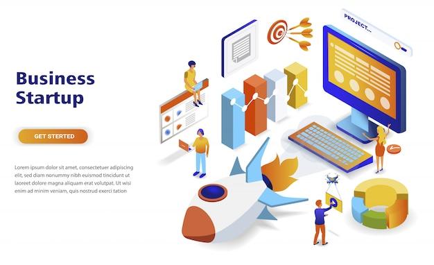 Concepto isométrico moderno diseño plano de inicio de negocios