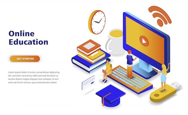 Concepto isométrico moderno de diseño plano en línea de educación