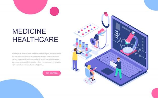Concepto isométrico moderno diseño plano de la medicina en línea