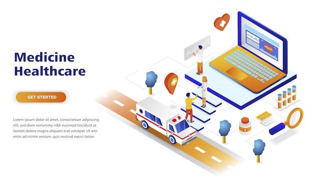 Concepto isométrico moderno diseño plano medicina y salud