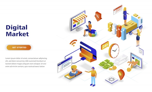 Concepto isométrico moderno de diseño plano moderno de marketing digital