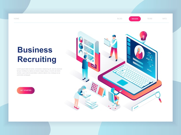 Concepto isométrico moderno diseño plano de reclutamiento de negocios
