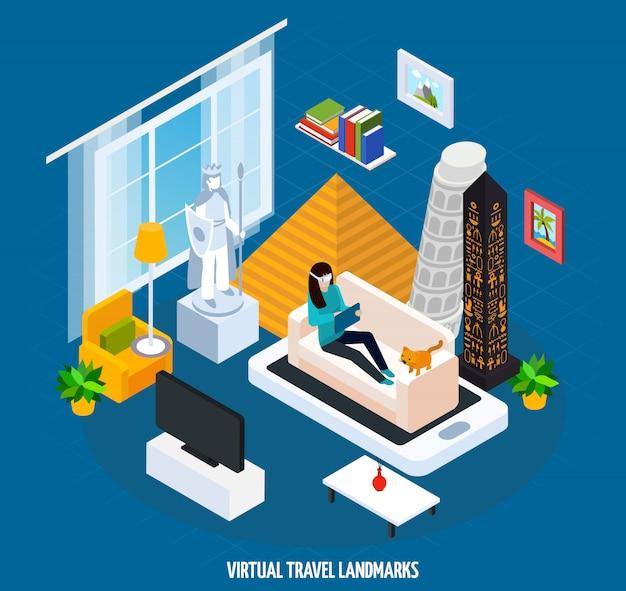 Concepto isométrico del museo virtual de lugares de viaje