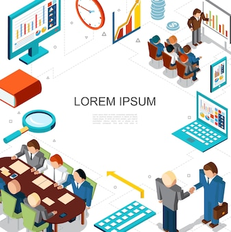 Concepto isométrico de negocios y finanzas con reunión de hombres de negocios de conferencia reloj monedas lupa diagramas gráficos gráficos en computadora portátil tableta ilustración