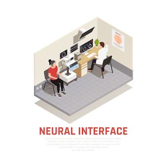 Concepto isométrico de neurología e interfaz neuronal con símbolos de investigación cerebral