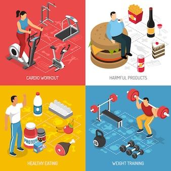 Concepto isométrico de nutrición deportiva de fitness