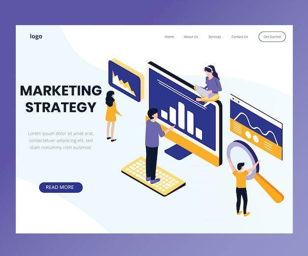 Concepto isométrico de la obra de arte de una estrategia de marketing.