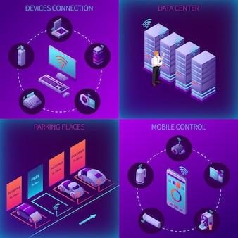 Concepto isométrico de la oficina de negocios de iot con estacionamiento de centro de datos de conexión de dispositivos y ilustración de vector aislado de control móvil