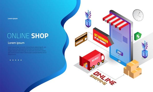 Concepto isométrico de página de destino de compras en línea