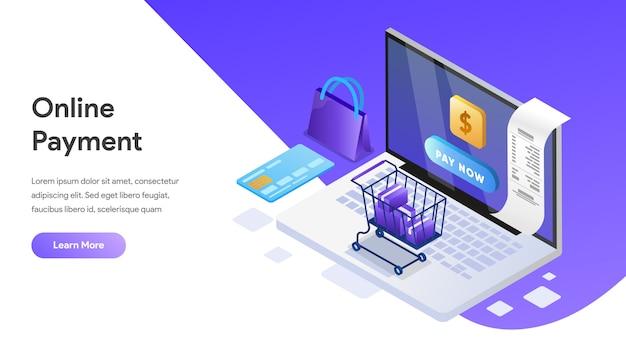 Concepto isométrico de pago en línea para la página de destino, página de inicio, sitio web