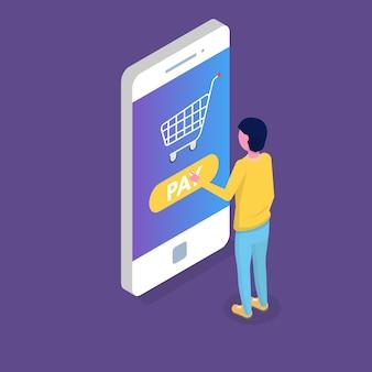 Concepto isométrico de pago en línea con recibo de caja. monedero móvil. ilustración vectorial