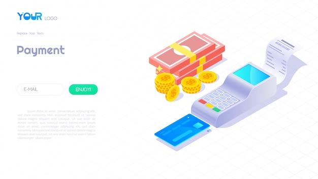Concepto isométrico de pago terminal, tarjeta de crédito, dinero y monedas sobre fondo blanco.