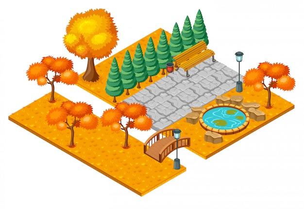 Concepto isométrico del paisaje del parque de la ciudad del otoño