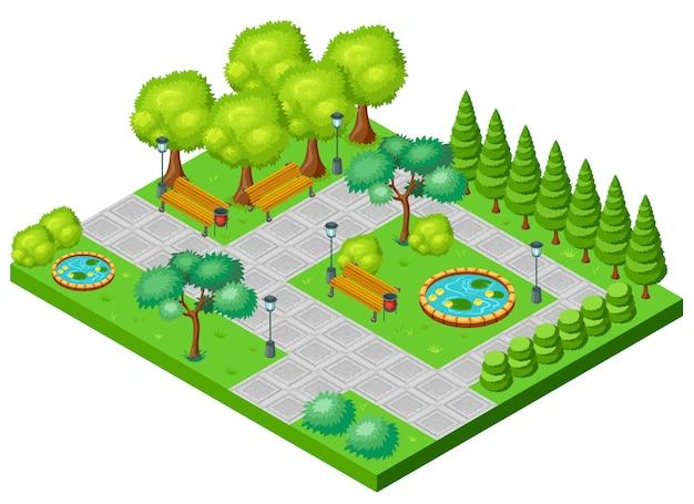 Concepto isométrico del paisaje del parque de primavera
