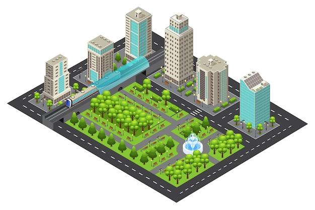 Concepto isométrico del paisaje urbano moderno