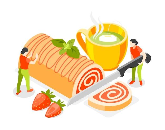 Concepto isométrico de panadería y personas con ilustración de símbolos de pastelería y té