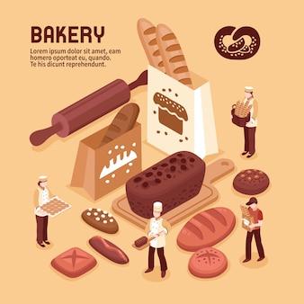 Concepto isométrico de panadería