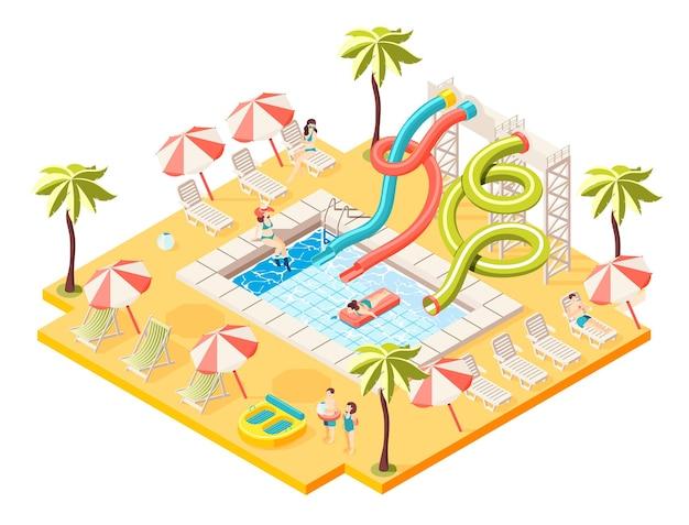 Concepto isométrico de parque acuático con ilustración de símbolos de entretenimiento para tomar el sol y nadar