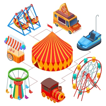 Concepto isométrico de parque de atracciones y circo
