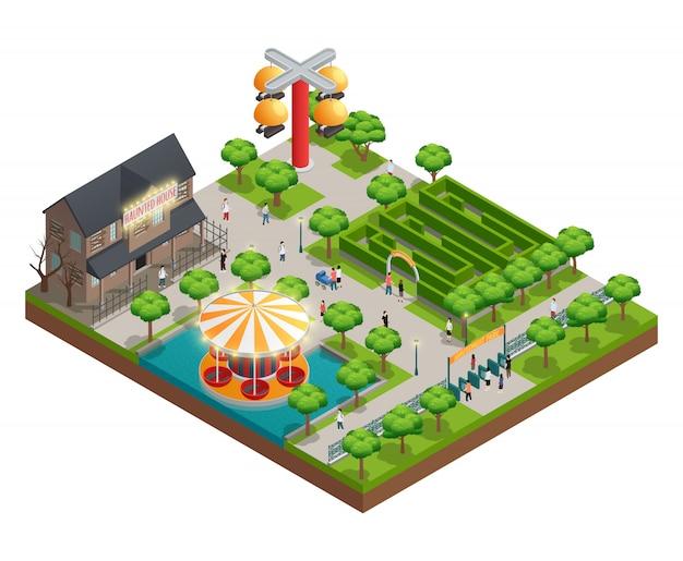 El concepto isométrico del parque de atracciones con los símbolos del laberinto y de la casa encantada vector la ilustración