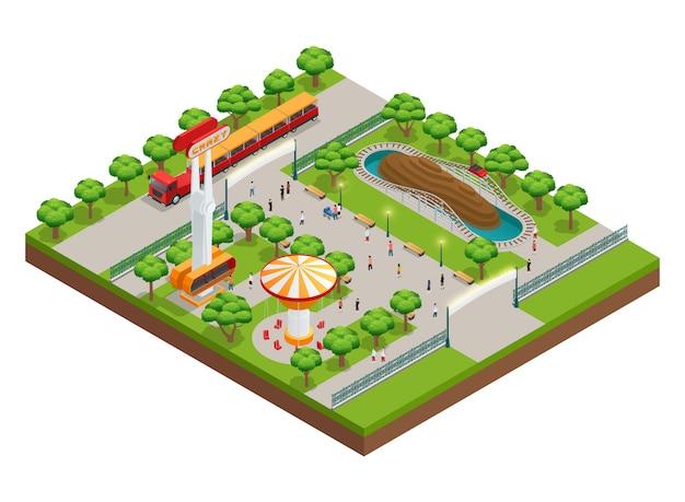 Concepto isométrico del parque de atracciones