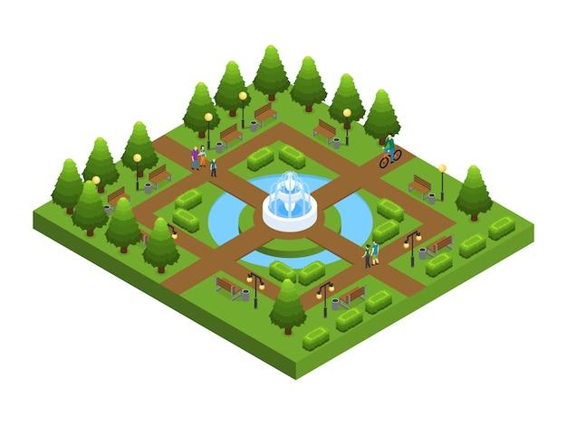 Concepto isométrico del parque de la ciudad verde