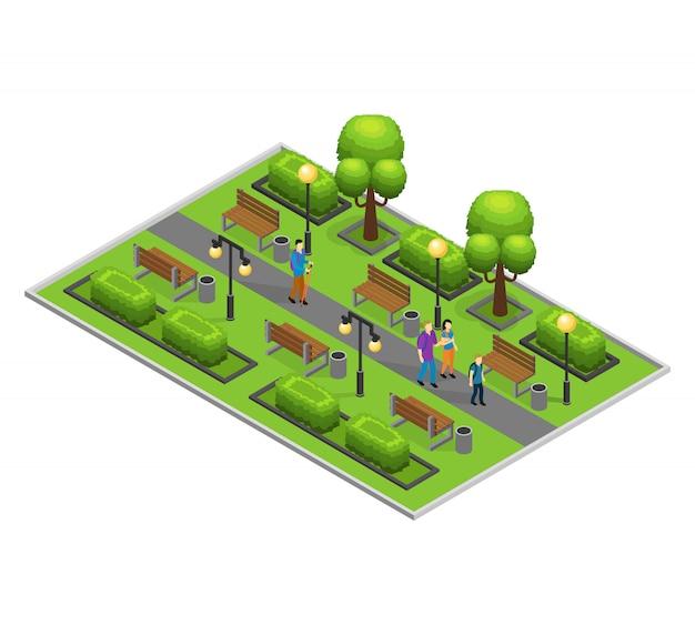 Concepto isométrico del parque de la ciudad
