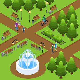 Concepto isométrico del parque de verano