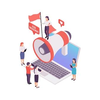 Concepto isométrico de participación del usuario de blogs con megáfono y personas ilustración 3d