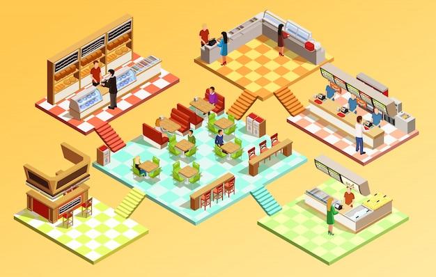 Concepto isométrico del patio de comidas