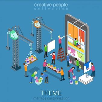 Concepto isométrico de personalización de tema de interfaz de usuario móvil ui / ux. personas pintando la interfaz cambiante en la tableta del teléfono