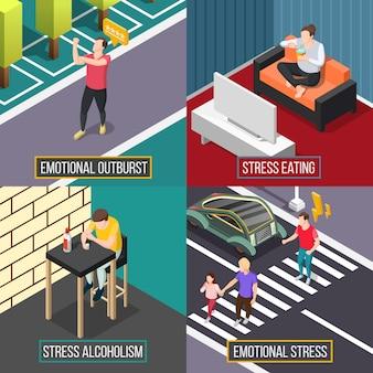 Concepto isométrico de personas de estrés