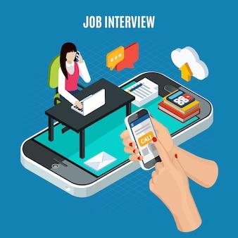 Concepto isométrico de personas de negocios con imágenes de agente de teléfono de reclutamiento con ilustración de vector de elementos de pictograma de teléfonos inteligentes