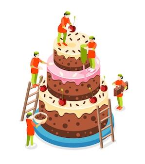 Concepto isométrico de personas de panadería con símbolos de pastelería y pastel